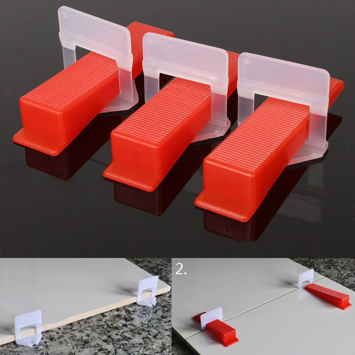 High Quality Tile Leveling System 50x Clips 50 Wedges Plastic Spacers Tiling Tools Red White