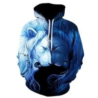 New Áo Fall/Mùa Đông Casual Animal Hoodies 3D Sư Tử Đôi Áo In Sư Tử Đầu Hip Hop Áo Thun Hoodies Đường Phố mặc