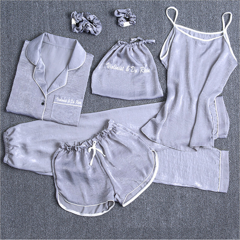 7 Pcs Women Pajamas Sets  Sleepwear Sexy Nightwear Embroidery Long Home Clothing Nightwear Lingerie Ladies Pijama Lounge Pyjama