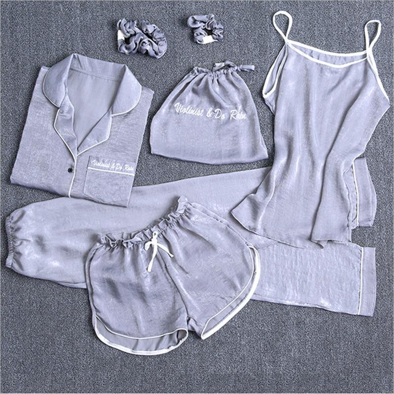 7 stücke Frauen Pyjamas Sets Nachtwäsche Sexy Nachtwäsche Stickerei Lange Hause Kleidung Nachtwäsche Dessous Damen pijama Lounge Pyjama