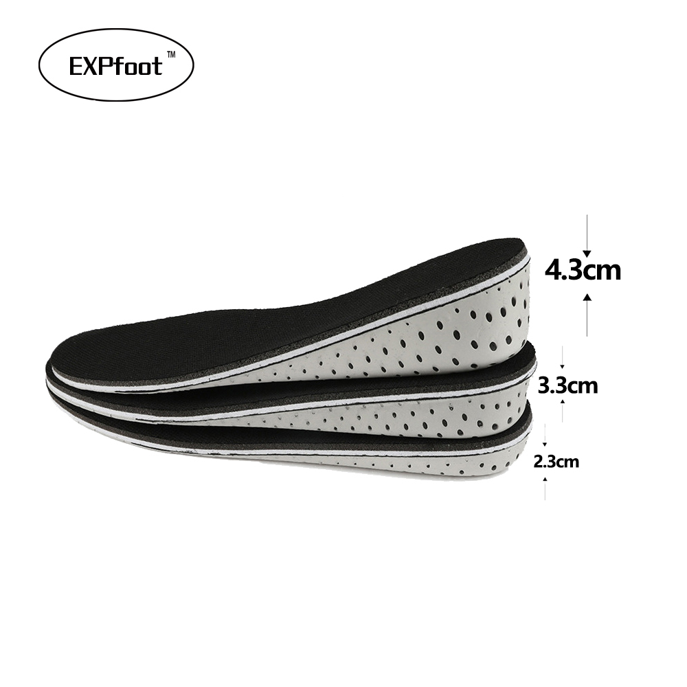 EXPfoot 4D Black white memory foam Height increase Elevator insoles pads Soles for shoes Men Women Shoe foot pad inserts Massage