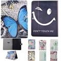 Butterfly/Smile Face Tablet Case For Samsung Galaxy Tab 3 10.1 P5200 /P5210 Case PU Leather Flip Cartoon Stand Back Hard PC Case