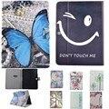 Mariposa/cara de la sonrisa caja de la tableta de samsung galaxy tab 3 10.1 p5200/P5210 Caso Cartoon Soporte de la PU Del Tirón Del Cuero de Nuevo Caso Duro de la PC