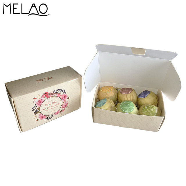 MELAO 6 pcs 110g gift set Organic Bath Bombs Bubble Bath Salts Ball Essential Oil Handmade SPA Stress Relief Exfoliating