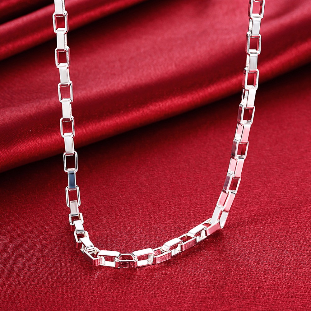 High-quality 925 solid silver plated argent men box Chain necklace,5MM all side Male Necklace Fashion Christmas Gift Jewelry