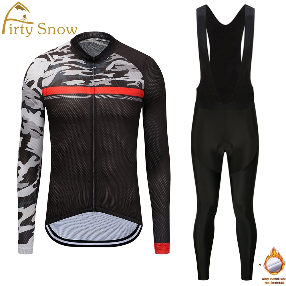Firty Snow cycling jersey 2018 New Menswinter Thermal Fleece bib pants sets dry bicicleta cycling wear jersey bicycle