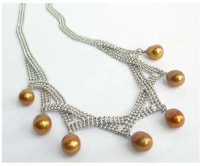 Beautiful Real Yellow Golden Pearl Pendant Necklace Wonderful Nobility Fine Wedding Jewelry Lucky Women's CZ Crystal stone gems