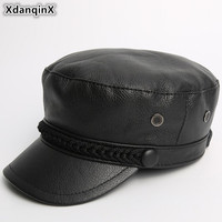 XdanqinX New Genuine Leather Hat Army Military Hats For Men Women Autumn Winter Fashion Cowhide Leather Flat Cap Gorra De Cuero