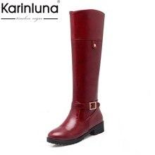 KarinLuna 2017 de Gran Tamaño 34-43 Solid Mujeres Rodilla Botas Altas Hebilla Talones Cuadrados Mujeres de la Plataforma Zapatos de Mujer Con Cremallera Botas de invierno