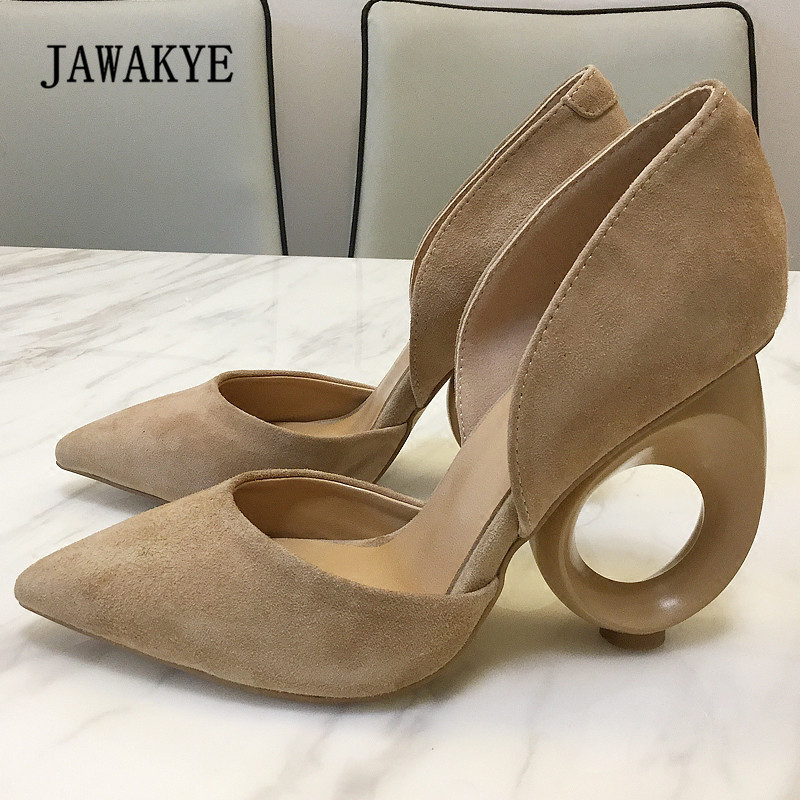 2018 Beige Suede Strange Heel Shoes Woman Pointed Toe Hollow Heel Pumps Women Black Red Dress Shoes цена 2017
