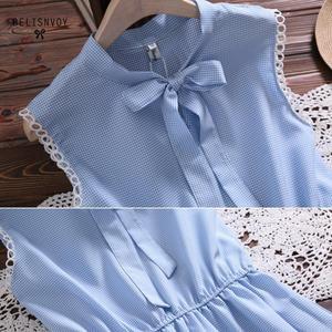 Image 5 - 2019 New Mori Girl Vintage Summer Women Dress Bowknot Sweet Cotton Linen Vestidos De Festa Sleeveless Plaid Robe Femme Sundress