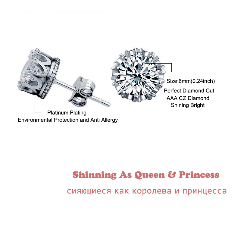 Fashion Jewelry Crown Women Classic Shining Zircon Small Stud Earrings Gold Color Ears Stud For Men Crystal Earrings WE132