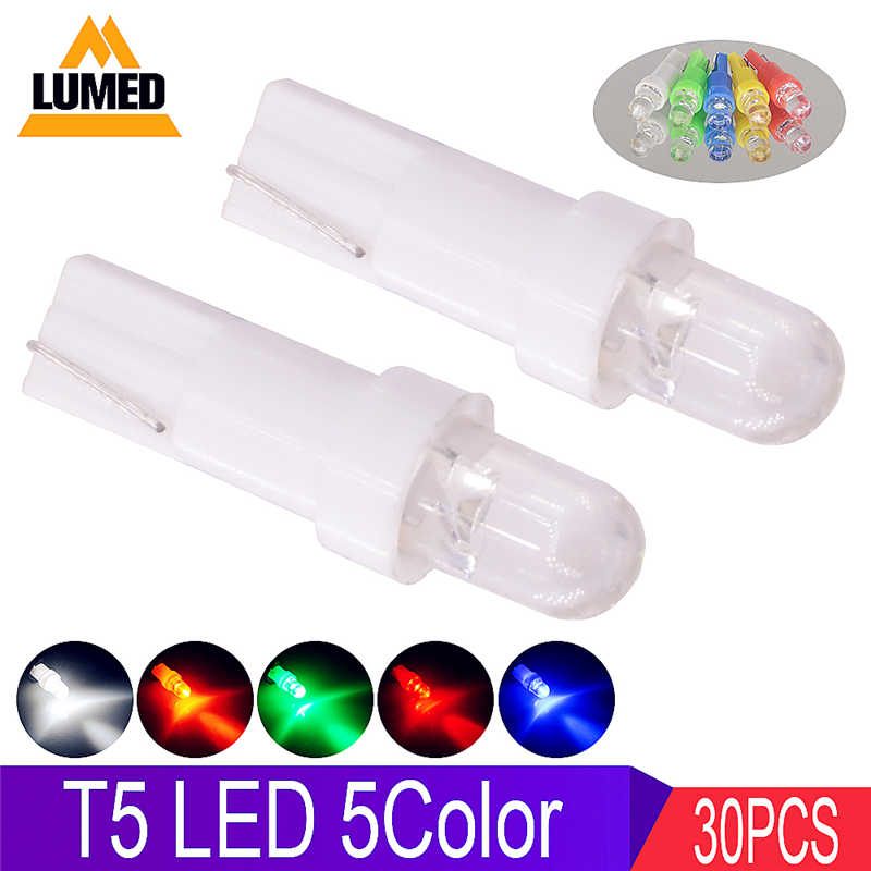30x Car LED Interior Lamp T5 LEDs Light Dashboard Gauge Instrument Auto Side Wedge Lights Bulb DC 12V