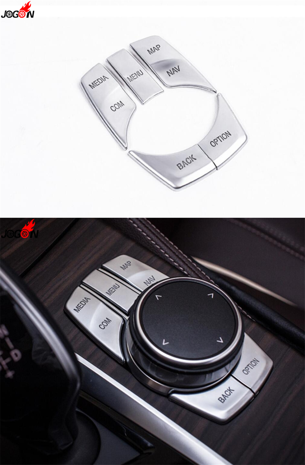 5pcs ABS iDrive Media Control Button Cover Sticker Trim for BMW 5 Series G30 2017 Decoration