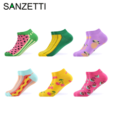 SANZETTI 6 Pairs/Lot Colorful Women Combed Cotton Socks Happy Fashion Funny Soft Breathable Kawaii Summer Fruit cherry