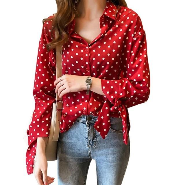 f6ef6efb751b2 Sexy Polka Dot Blouse Women Office Lady Long Sleeve Shirt Black White Red  Fashion Loose Elegant Button Up Womens Blouse
