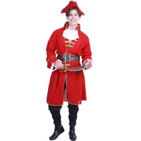 Halloween Party Costume for Adult Red Soldier Pirate Cosplay Captain Blackheart Pirate Costume Medieval Costume Men