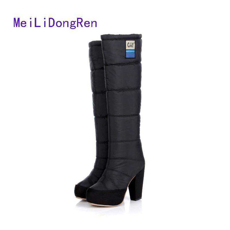 Fashion Thigh High Boots 2015 Thick Heel Platform Winter Warm Snow Boots Cotton Women Knee High