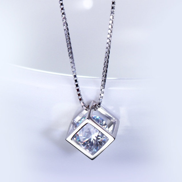 Square Pendant Necklace For Lady White Gold color Luxury 925 sterling silver necklace  Made with cubic zirconia