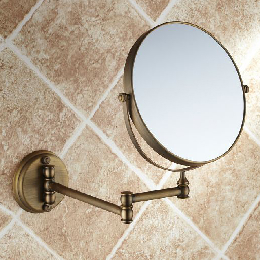 Antique 8 Double Side Bathroom Folding Brass Shave Makeup Mirror Wall Mounted Extend with Arm Round 1x3x Magnifying 1506F brass wall mounted ribbon lamp 8 5 round double side cosmetic mirror silver 220v