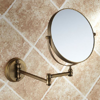 Bath Mirrors 3 x Magnifying Mirror of Bathroom Makeup Mirror Folding Shave 8 Dual Side Antique Brass Wall Round Mirrors 1506F