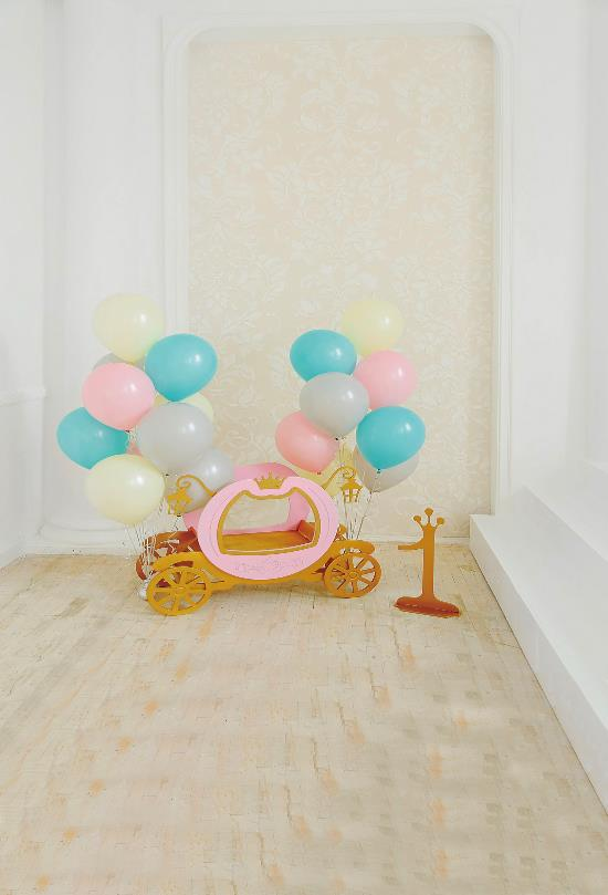 Laeacco Balloons Baby 1st Birthday Model Bicycle Interior Photo Backgrounds Customized Photography Backdrops For Photo Studio
