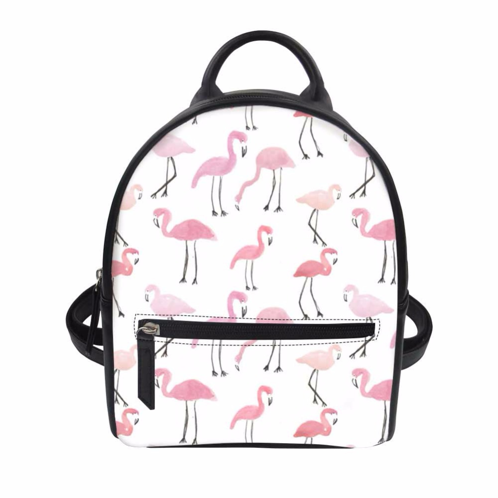 Noisydesigns Pink Flamingos Print Mini Girls Bags Women Backpack Pu Leather Travel Bagpack Shoulder Bag For Teen Mochila Feminin