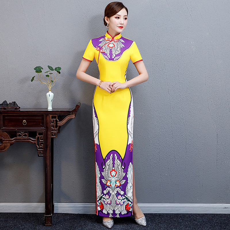 Surdimensionné 5XL dame Sexy fête longue Cheongsam traditionnel chine Style Oriental femmes élégant soirée Qipao robe robe Vestido