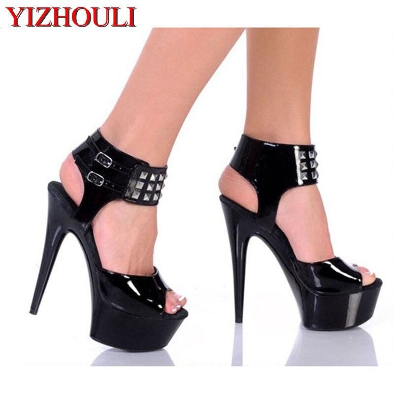 Mode Rivets classiques noir 15 CM Sexy chaussures à talons hauts sandales, chaussures de danse de poteau, chaussures de fête/mariage à talons hauts + grande taille