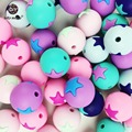 10 unid silicona estrella collar de perlas de onda Bebé ducha bebé juguetes Montessori Juguetes alimentos geade Silicona Dentición cuentas de juguetes masticables