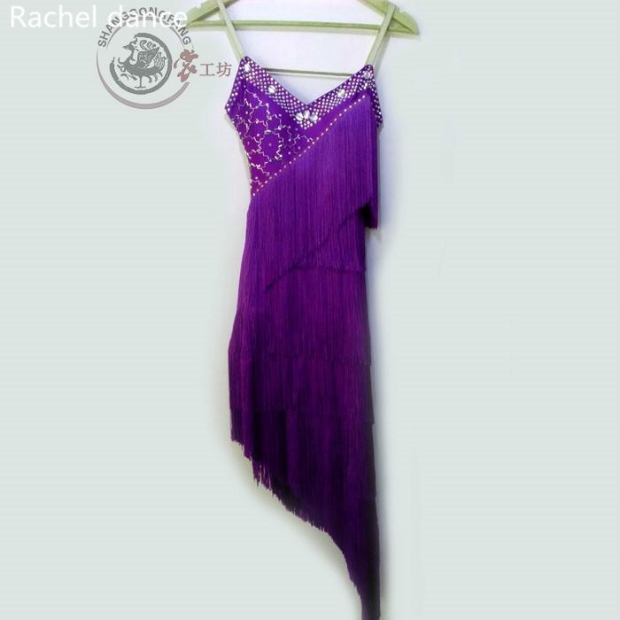 Fringe Latin Dancing Clothing Sequins Style V-Collar Back Opening Sleeveless Samba Tango Dance Costumes Tassel Latin Dance Dress