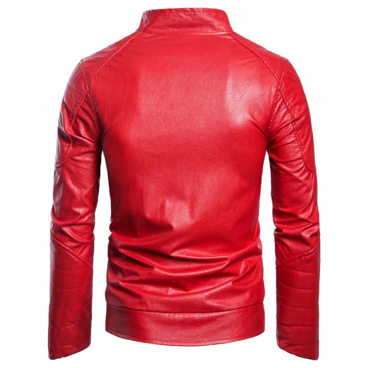 Европа/США Размер Мужская кожаная куртка Европа и Америка классический мотоцикл кожаная куртка Новый дизайн PU Байкерская верхняя мужская куртка