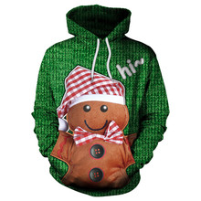 New Green Gingerbread Man Printed Unisex Hooded Hoodies Cute Christmas Pullovers Sweatshirts Loose Autumn Winter Couple Sweaters