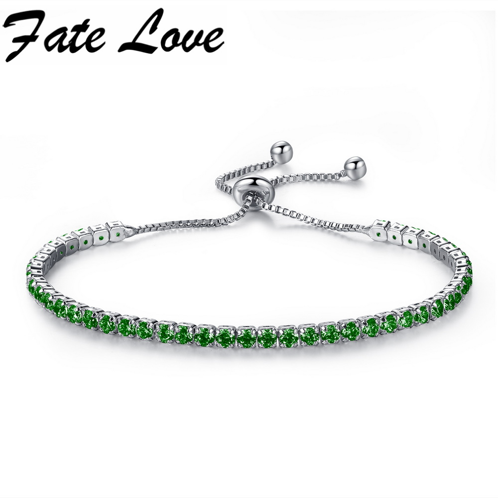 Fate Love Fashion Colorful Adjustable Bracelet White Gold Color Copper Cubic Zirconia Clasp Chain Jewelry For