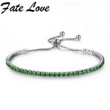 Fate Love Top Fashion Colorful Adjustable Bracelet Copper Multicolor Cubic Zirconia Clasp Tennis Chain Jewelry For Women FL970