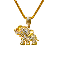 Charm Chains Cartoon Music Jewelry Gifts Bling Pendants Hip Hop Style 18k Gold Plated Crystal Elephant