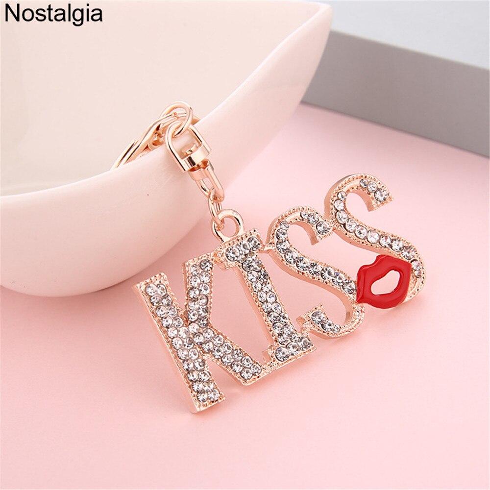 Women Fashion Silver Metal Hand Chain Bracelet Love Heart Red Kiss Lips Bling