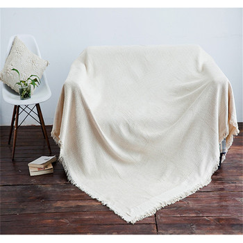 Beige Sofa Towel Blanket Sectional Sofa Cover Cotton Polytester Knitted Seat Slipcover Cushion Couch Cover Bed Sheet Home Decor
