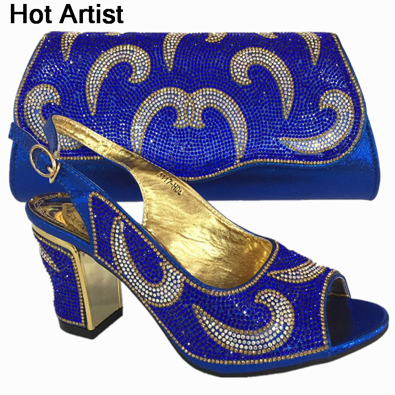 Hot Artist Latest Africa Elegant Woman Shoes And Bag Set Italian Rhinestone High Heels Shoes And