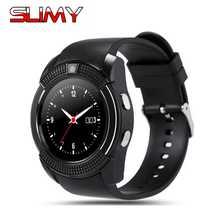 Pegajoso Novo Bluetooth Relógio Inteligente V8 Relógio Horas Com SIM TF Cartão Notificador de Sincronização Smartwatch para Android Phone Melhor Rodada relógio