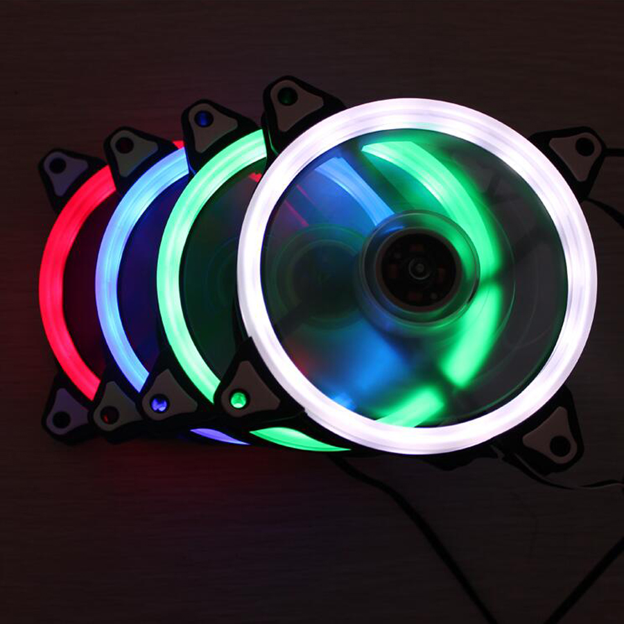 12V 4Pin & 3Pin <font><b>120mm</b></font> x 25mm 12025 Cool Fashion solar eclipse Mute Red Green White Blue Color <font><b>PC</b></font> Case System Cooling <font><b>Fan</b></font> image