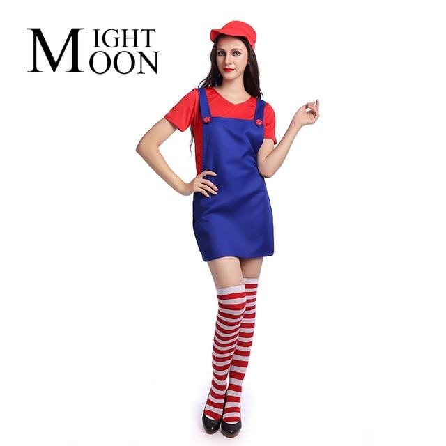 Moonight Sexy Erwachsene Damen Super Mario Kostüm Luigi Bro Klempner