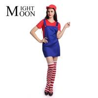 MOONIGHT Sexy Volwassen Dames Super Mario Kostuum Luigi Bro Loodgieter Kostuum Vrouwen Fancy Dress Outfit Ml XL