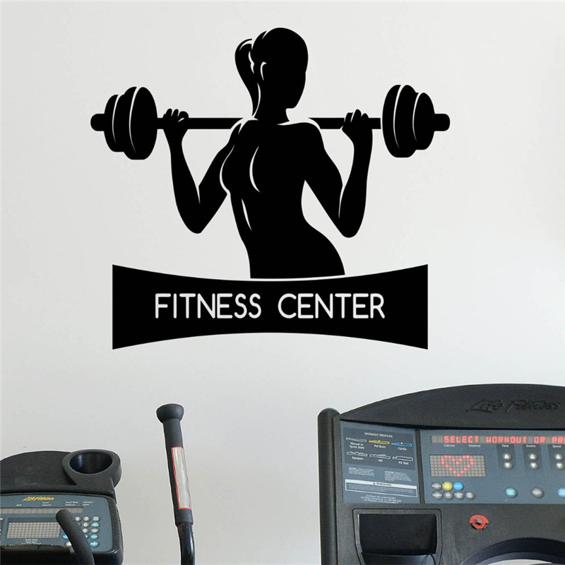Female Fitness Wall Sticker Healthy Lifestyle Gym Sport