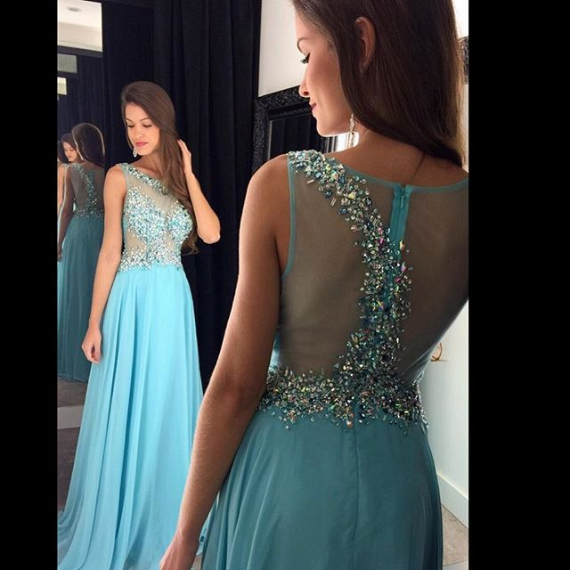 Sexy See Through Special Occasion Gowns 2015 Aqua Blue Hand-Beaded Bodice  Chiffon A-line Long Prom Dresses for Party(YASA-1105) e1dc5c5f6204