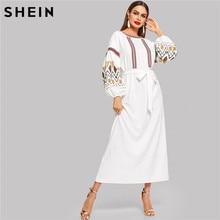 SHEIN Multicolor High Waist Belted Bishop Sleeve Long Dress Lantern Sleeve Embroidered Belted Maxi Dress Women Spring Dress