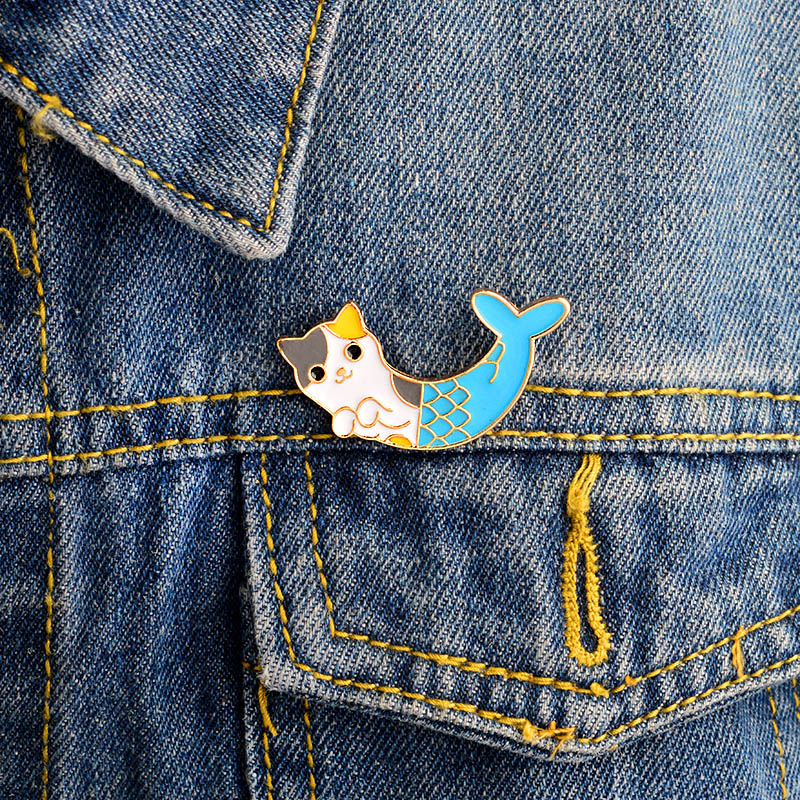 1 Pcs Cute Cartoon Fish Cat Metal Badge Brooch Button Pins Denim Jacket Pin Jewelry Decoration Badge For Clothes Lapel Pins Apparel Sewing & Fabric