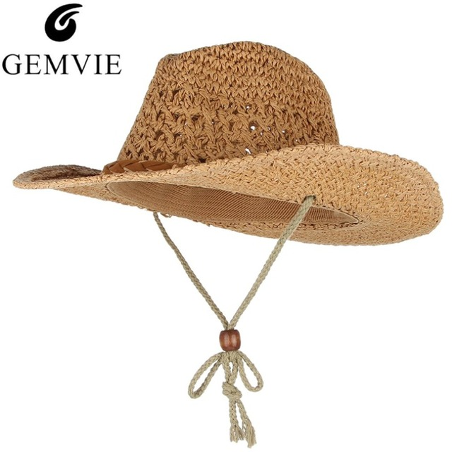 db65e5e1833 Western Cowboy Style Summer Hats For Women Men Wide Brim Sun Hat Handmade  Weaved Straw Hat Beach Sun Cap Fisherman Caps