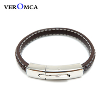 ФОТО veromca  brown woven leather rope bracelet snap  jewelry for men and women china stainless steel bracelets wholesale suppliers