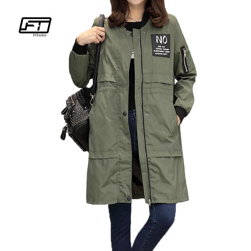 Fitaylor Autumn Women Windbreaker Coat Fashion Casual Jacket O Neck Long Sleeve Letter Print Medium Long Slim Coat